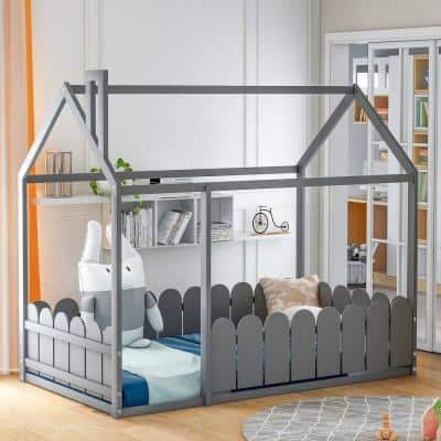 Gray Twin Size Wood House Bed with Fence
