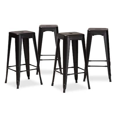Horton 30.3 in. Black Backless Metal Bar Height Bar Stool (Set of 4)