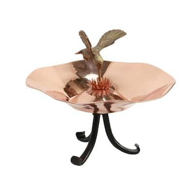 13.25 in. Dia Copper Plated Hummingbird Birdbath Bowl with Tripod Stand