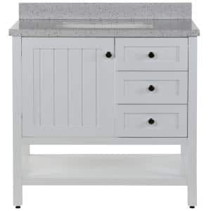 Lanceton 37 in. W x 22 in. D Bath Vanity in White with Solid Surface Vanity Top in Silver Ash with White Sink