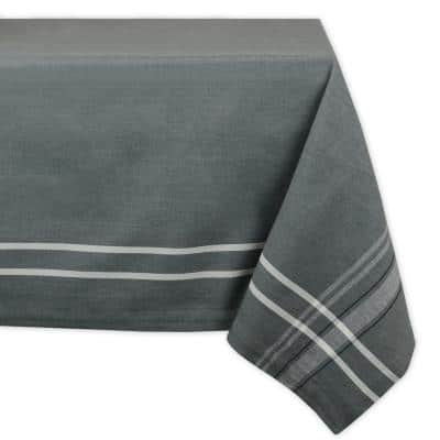 Chambray 60 in. x 104 in. Gray with White French Stripe Cotton Tablecloth