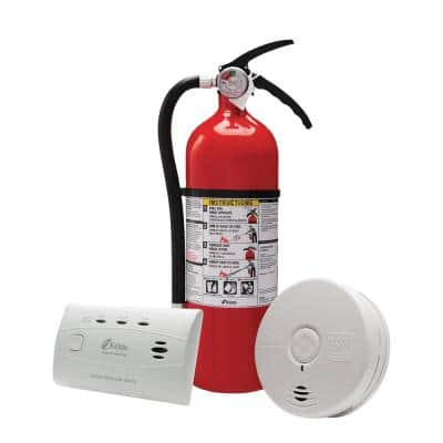 10 Year Worry-Free Home Fire Safety Kit, Battery Powered Smoke Detector with CO Detector & Full Home Fire Extinguisher