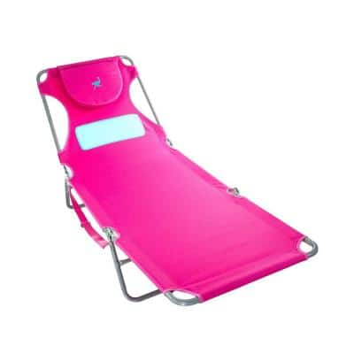 Pink Comfort Lounger Face Down Sunbathing Chaise Lounge Beach Chair