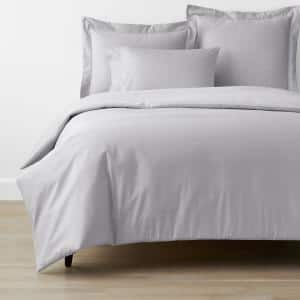 Company Cotton Gray Mist Solid 300-Thread Count Wrinkle-Free Sateen King Duvet Cover