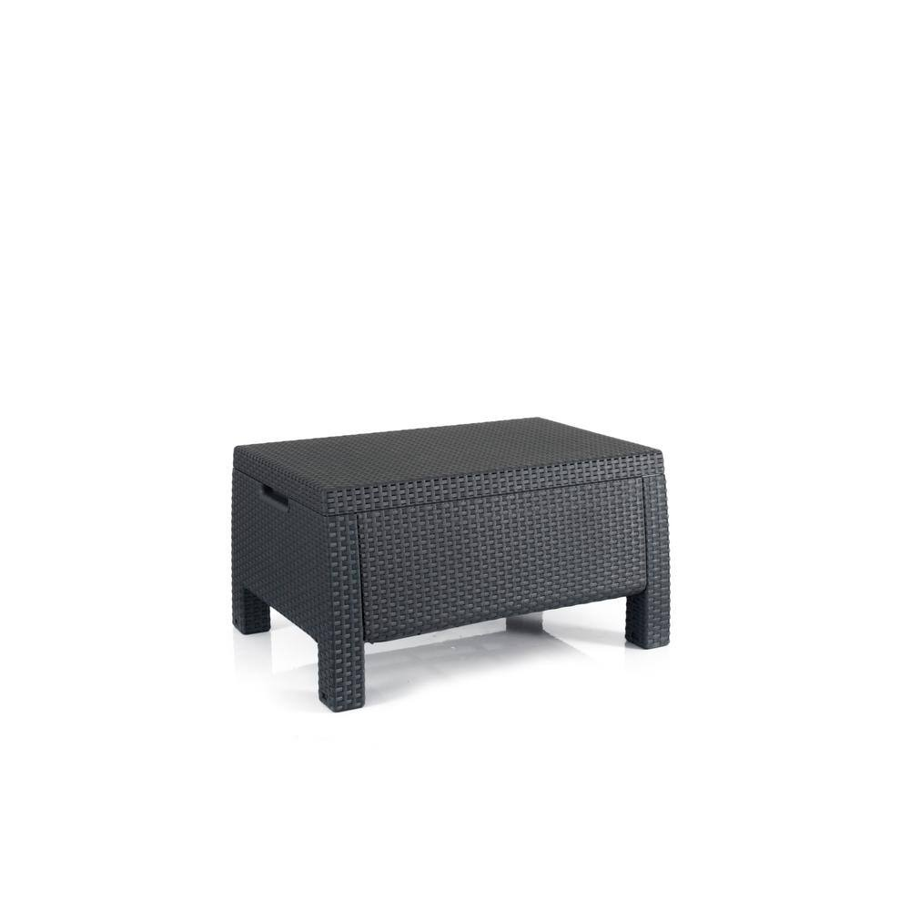 Keter Bahamas Graphite Resin Outdoor Storage Garden Patio Coffee Table 235783 The Home Depot
