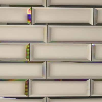 Reflections Frosted Gold Beveled Subway 3 in. x 12 in. Matte Glass Mirror Wall Tile (1 sq. ft. )