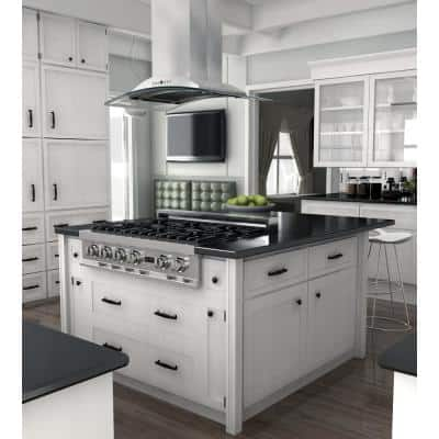 ZLINE 36 in. Convertible Vent Island Mount Range Hood in Stainless Steel and Glass (GL9i-36)