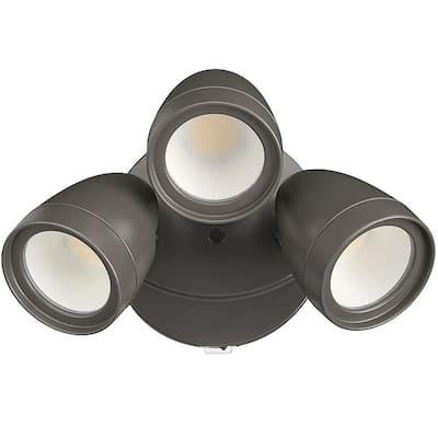 3-HeadBronze Outdoor Integrated LED Security Flood Light 1800 to 3600 LumenBoostDusk-to-Dawn Photocell 4000K