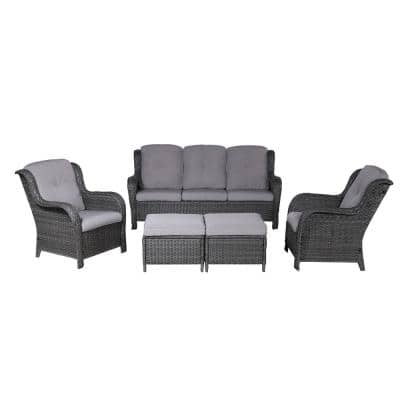 Irene Gray 5-Piece Wicker Patio Conversation Seating Set with Gray Cushions