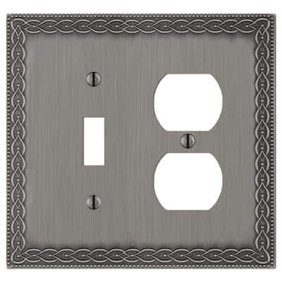 Amelia 2 Gang 1-Toggle and 1-Duplex Metal Wall Plate - Antique Nickel