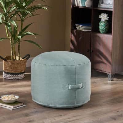 Sandy Cay Teal Water Resistant Outdoor Ottoman Pouf