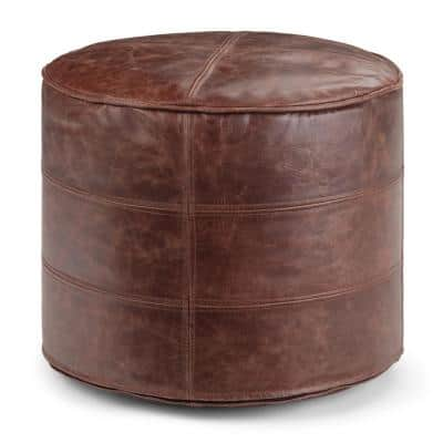Elias Transitional Distressed Brown Leather Round Pouf