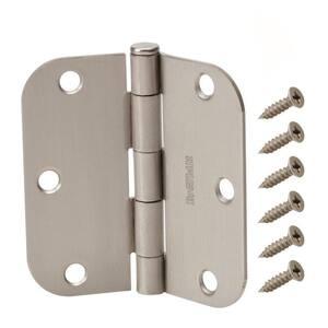 3-1/2 in. x 5/8 in. Radius Satin Nickel Squeak-Free Door Hinge (12-Pack)