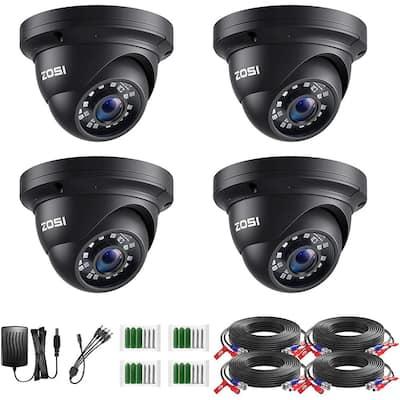 Wired 1080p Black Indoor Dome TVI Security Camera Compatible for TVI DVRs (4-Pack)