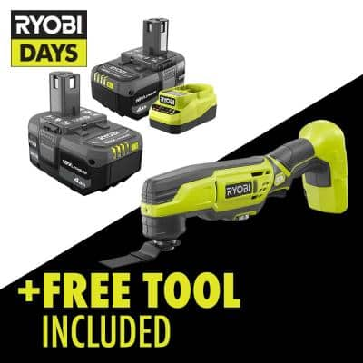 ONE+ 18V Lithium-Ion 4.0 Ah Compact Battery (2-Pack) and Charger Kit with Free Cordless Multi-Tool