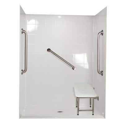 Standard Plus 24 33 in. x 60 in. x 77-3/4 in. Barrier Free Roll-In Shower Kit in White with Center Drain