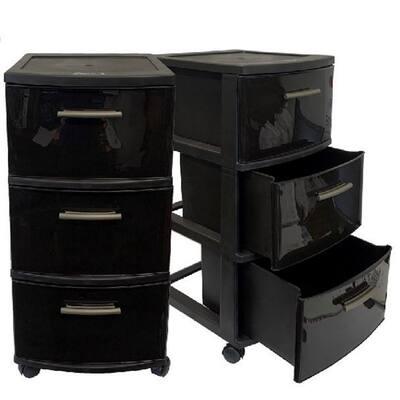 3-Drawer Resin Rolling Storage Cart in Espresso (Set of 2)