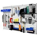 32 in. x 48 in. Metal Pegboard Standard Tool Storage Kit with White Pegboard and Black Peg Accessories