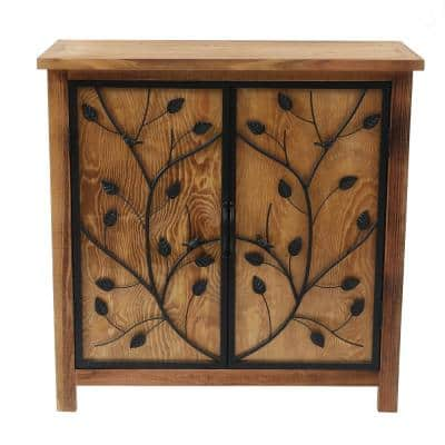 31.5 in. H Pine Wood Console Storage Cabinet