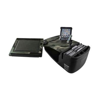 Reach Desk Front Seat Car Desk in Green Camouflage with Built-in Power Inverter, Phone Mount and Tablet Mount