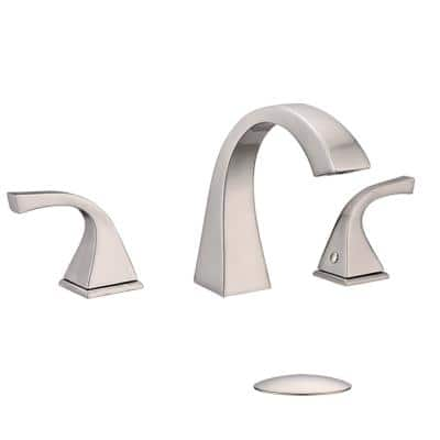 8 in. Widespread Three Hole 2-Handle Bathroom Faucet with pop-up drain in silver