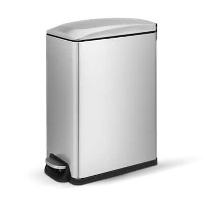 12.9 Gal./45-Liter Fingerprint Free Stainless Steel Slim Rectangular Kitchen Step-on Trash Can