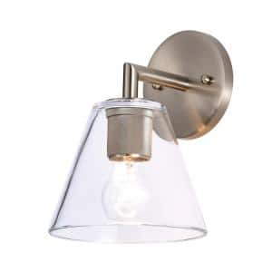 1-Light Satin Nickel Wall Sconce with Clear Glass