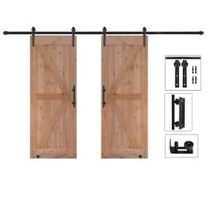 60 in. x 84 in. Assembled Bi-Parting Rustic Unfinished Hardwood Interior Sliding Barn Door Slab with Hardware Kit