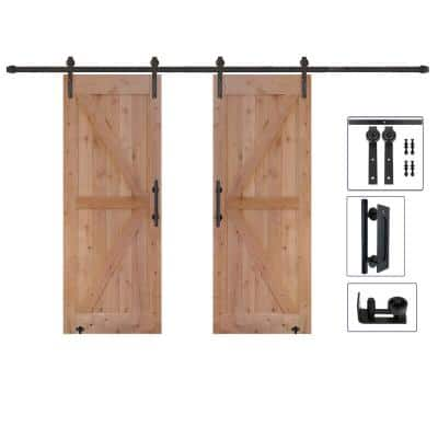 60 in. x 84 in. Assembled Bi-Parting Rustic Unfinished Hardwood Interior Sliding Barn Door Slab with Hardware Kit