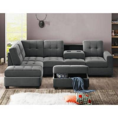 3-Piece Gray Suede 5-Seats L-Shape Reversible Sectionals Sofa with Chaise Lounge Storage Ottoman and Cup Holders