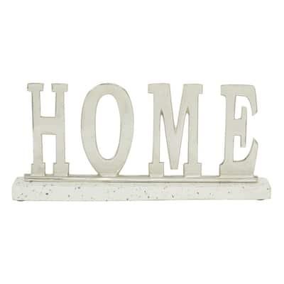 "18 in. x 8 in. Metallic Terrazzo Aluminum ""Home"" Decorative Sign"