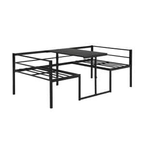 Black Twin Size Adjustable Metal Daybed with Built-in-Desk