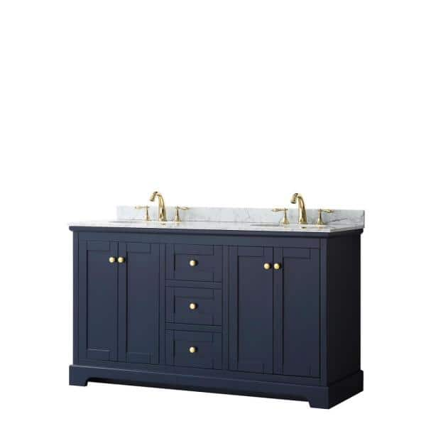 Wyndham Collection Avery 60 In W X 22 In D Bathroom Vanity In Dark Blue With Marble Vanity Top In White Carrara With White Basins Wcv232360dblcmunomxx The Home Depot