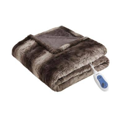 Marselle Chocolate 50 in. x 70 in. Oversized Faux Fur Heated Throw
