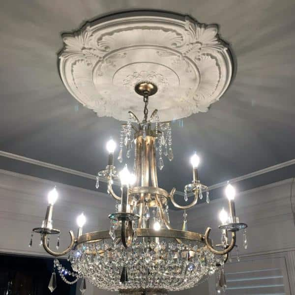 Ekena Millwork 17 5 8 In X 3 5 8 In X 7 8 In Raymond Urethane Ceiling Medallion 2 Piece Fits Canopies Up To 3 5 8 In Cm17ra2 The Home Depot