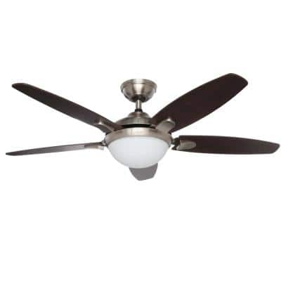 Contempo 52 in. Indoor Brushed Nickel Ceiling Fan with Universal Remote and Light