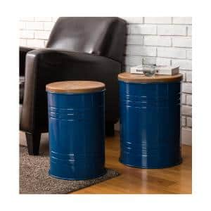 Set of 2 Modern Meta Storage Accent Table or Stool with Solid Wood Lid - Navy Blue