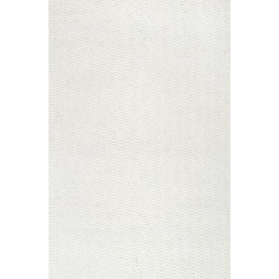 Glendora Chevron Ivory 9 ft. x 12 ft. Area Rug