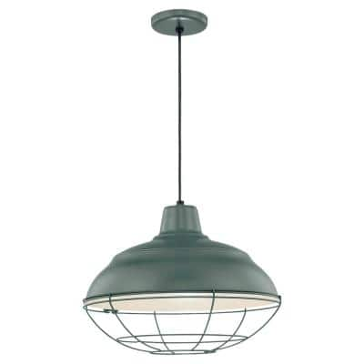 18 in. 1-Light Satin Green Warehouse/Cord Hung