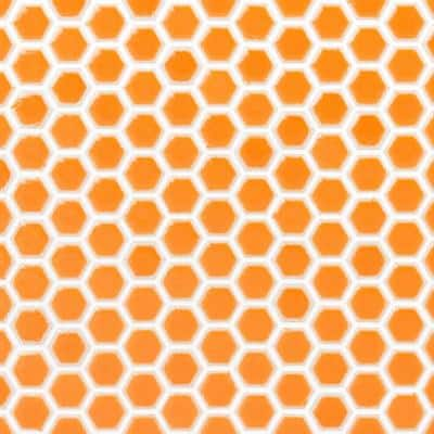 Bliss Edged Hexagon Mango 12 in. x 12 in. Polished Ceramic Mosaic Tile
