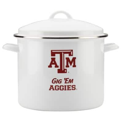 Texas A&M 12 qt. Porcelain-Enameled Steel Nonstick Stock Pot in White with Lid