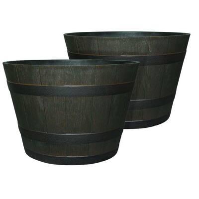 22.44 in. Dia x 14.96 in. H Rustic Oak High-Density Resin Whiskey Barrel Planter (2-Pack)