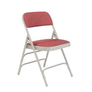 Burgundy Fabric Padded Seat Stackable Folding Chair (Set of 4)