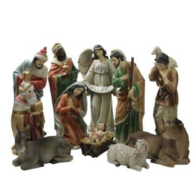 22.75 in. Large Tranquil Religious Christmas Nativity Set (11-Piece)