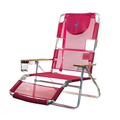 3-in-1 Lightweight Pink Aluminum Frame 5-Position Reclining Beach Chair