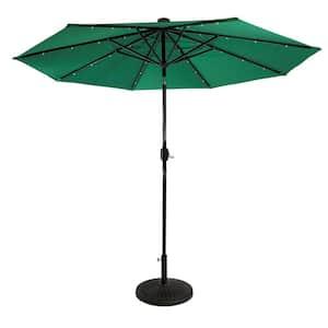9 ft. Steel Market Solar Lighted 8-Rib Round Patio Umbrella in Emerald Green