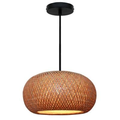 Bernice 18 in. 1-Light Black Pendant with Natural Rattan Shade