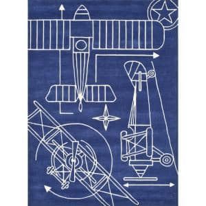 Lil Mo Hipster Aero Navy Blue 2 ft. x 3 ft. Indoor Kids Area Rug