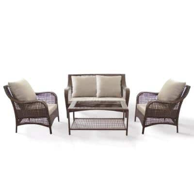 Willows Brown 4-Piece Steel Outdoor Loveseat Set with Beige Cushions