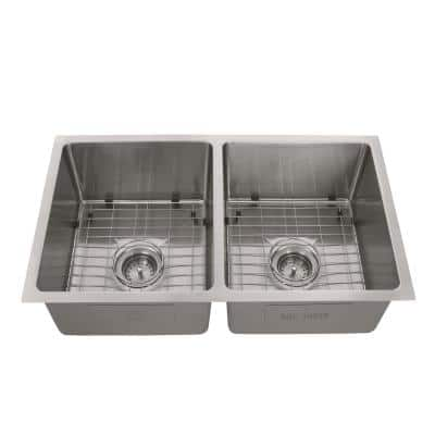 Tight Radius Stainless Steel 31 in. 18-Gauge Double Bowl Undermount Kitchen Sink with Grid and Strainer